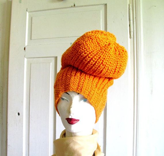 Extra large Knitted Slouchy . Beanie hat by recyclingroom on Etsy, $35.00
