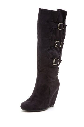 Two Lips Cashmere Wedge Boot with Buckles