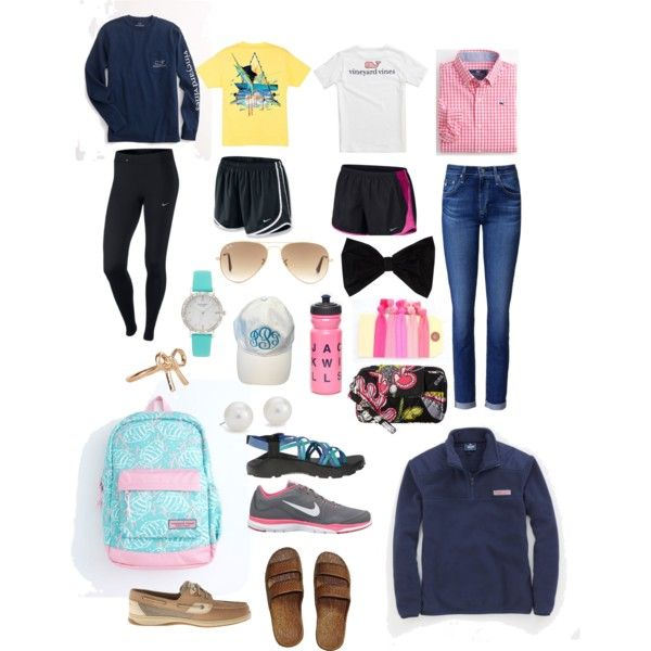 Camp preppy by savannahrm007 on Polyvore featuring polyvore, fashion, style, Vineyard Vines, AG Adriano Goldschmied, NIKE, Chaco, Sperry Top-Sider, Vera Bradley, Blue Nile, Kate Spade, Monsoon, Ray-Ban, PINK BOW and Jack Wills