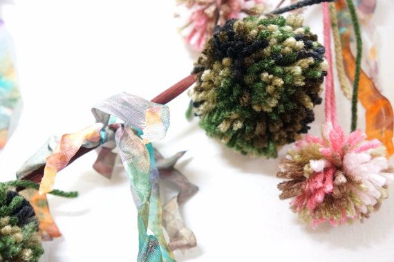 Pompom Garland Baby Room Decor  In the Woods by LiLaxO