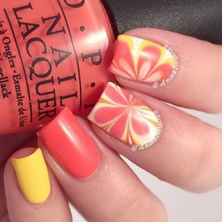 Amazing watermarble nails by @amina2inspire using Pure Color 7 watermarble tool from whatsupnails.com (link in bio). Shi...