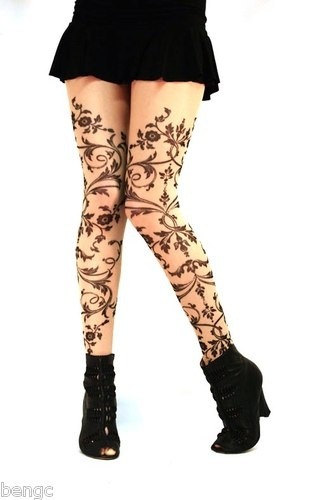 Wild Rose Salvation Tattoo Leggings Sheer Mesh Tights Pantyhose Black Lace Band