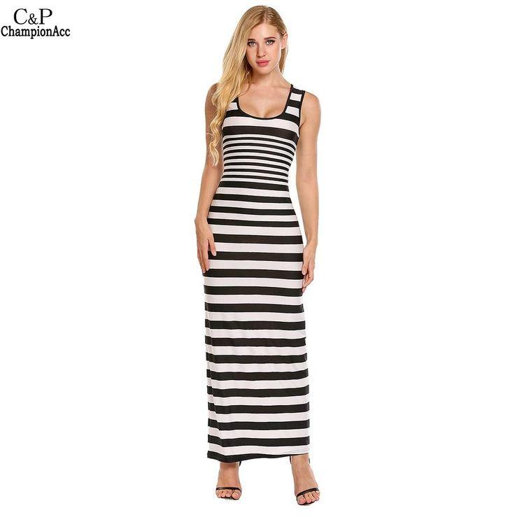 FANALA Vintage Women Long Stripe Dress Ankle Length Shealth Dress Slim Sleeveless Low Neck Dress Plus Size Wome Vestidos 2017 #Affiliate