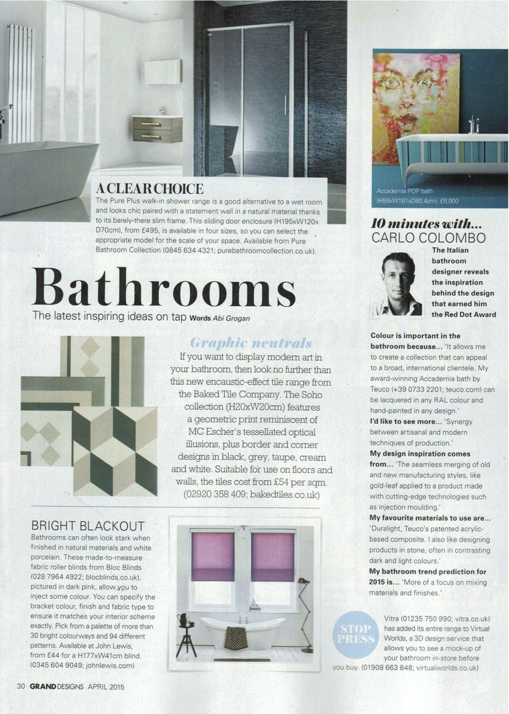 In their April issue, Grand Designs Magazine featured Bloc Blinds as a great way to inject colour to your bathroom  #blinds #bathrooms #windowtreatments