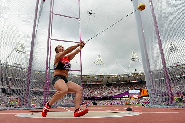 Kathrin Klaas of Germany winds up for an attempt in hammer throw