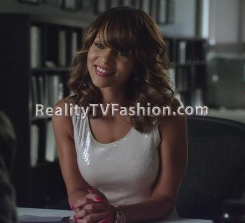 "Denise Vasi's Ivory Sequined Dress on ""Single Ladies"""