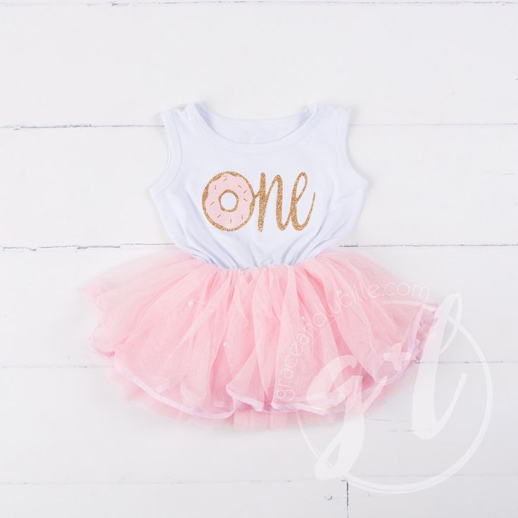 Donut Birthday Outfit dress, First Birthday Dress, Pink and white birthday dress, Donut Party dress, First Birthday pink and gold dress by GraceandLucille on Etsy https://www.etsy.com/listing/485936309/donut-birthday-outfit-dress-first