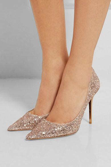 Heel measures approximately 100mm/ 4 inches Rose gold and silver glittered leather Slip on Designer color: Nude