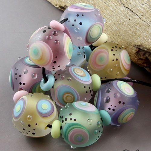 magma beads soft pastel minis handmade lampwork beads lampwork
