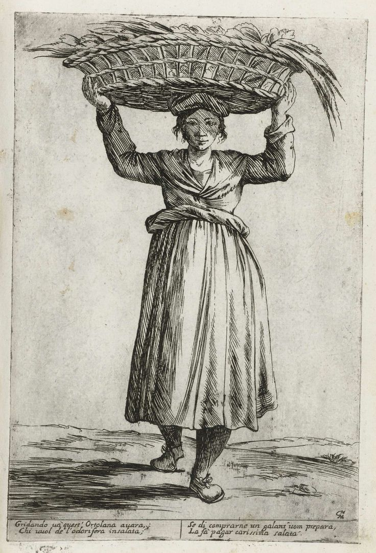 Verkoopster van groente, Giuseppe Maria Mitelli, 1660