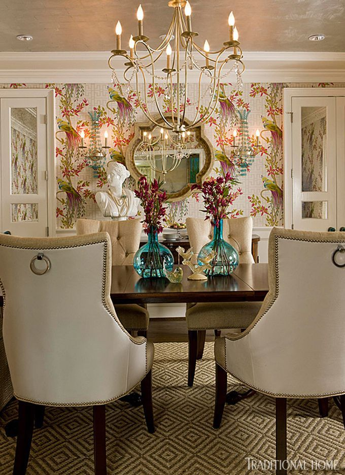traditional home dining rooms. Colorful wallpaper makes a statement in this renovated dining room  while pair of mirrored 364 best Traditional Home Magazine images on Pinterest