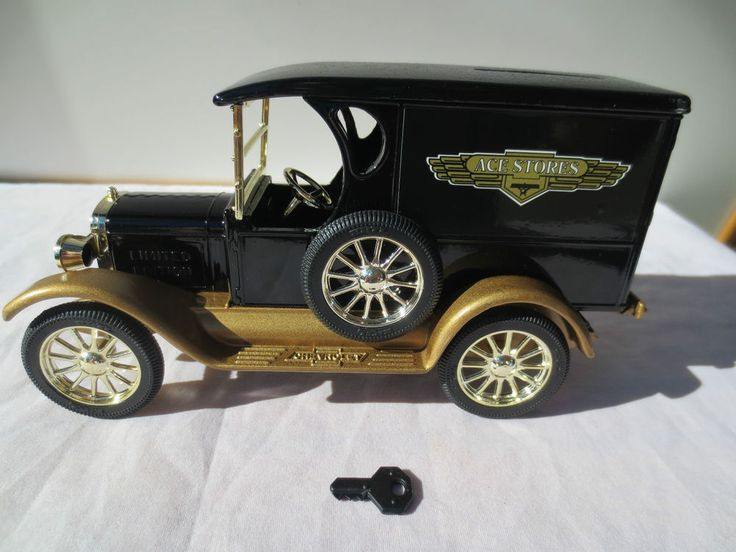 COIN BANK 1924 DIE CAST CHEVROLET, Ace Hardware 70th Anniversary, w Key, In Box #Ertl #Chevrolet