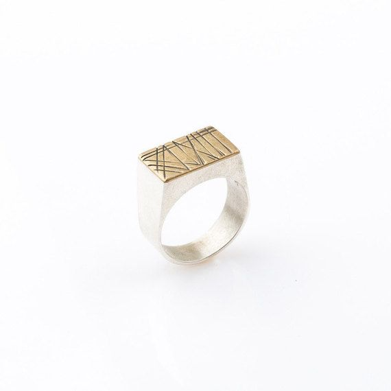 Sterling silver and brass Signet Ring, mixed metals ring, unisex signet ring…