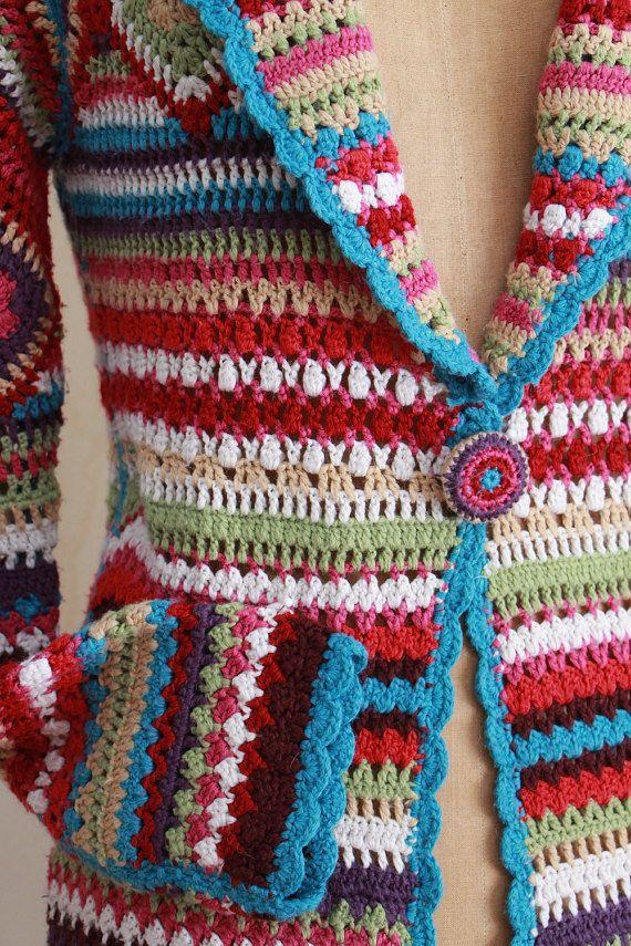 Vintage gehaakte trui jas / Boho / Hippie / lange door WhynaughtShop