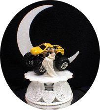 Big yellow MONSTER TRUCK  4 wheeler Wedding Cake Topper groom TOP Funny racing