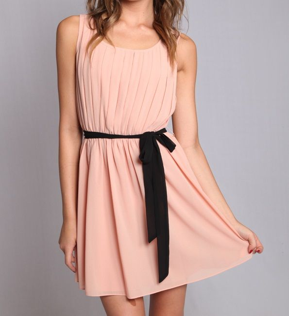 Gorgeous #blush colored #dress with #pleated front, tie belt and stunning sheer lace back with button detail. So pretty!