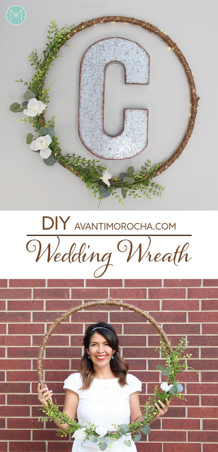 Wedding Wreath using a hula hoop wrapped with rope and trimmed with greenery and flowers