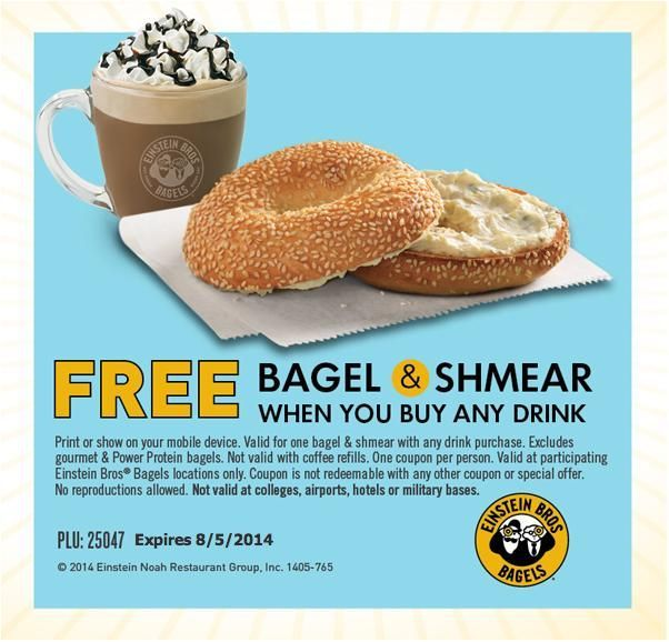 (8/2014) Einstein Bros Bagels coupon for Free bagel and schmear with a drink via Yipit -  http://yipit.com/business/einstein-bagels/free-einstein-bagels/