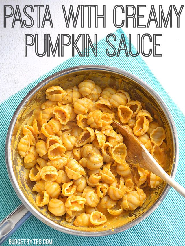 This simple and flavorful Pasta with Creamy Pumpkin sauce is sure to impress! BudgetBytes.com