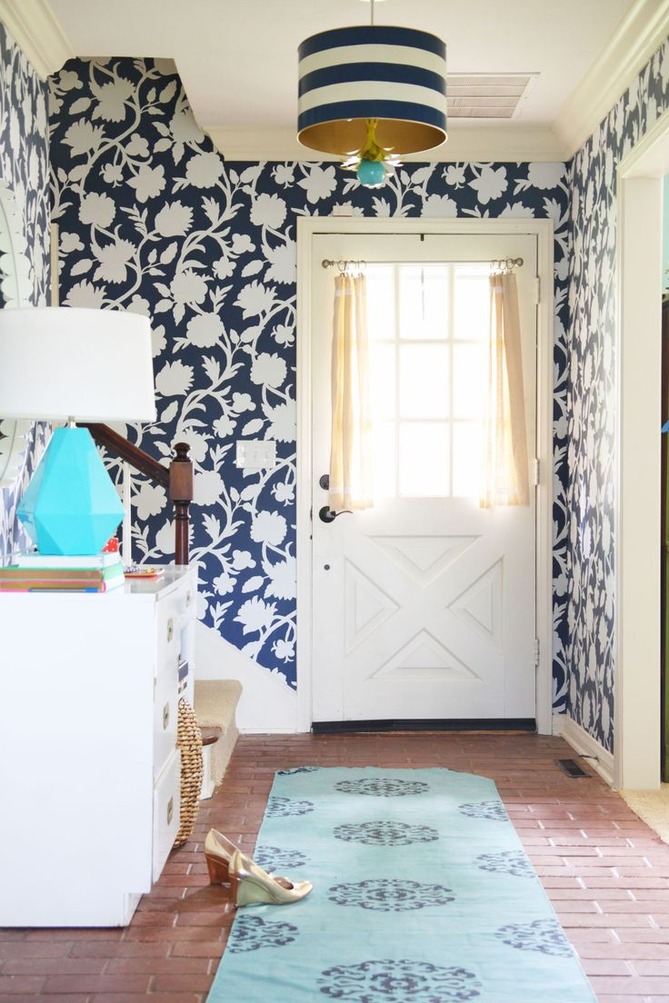 Entryway Wallpaper Makeover Good Looking