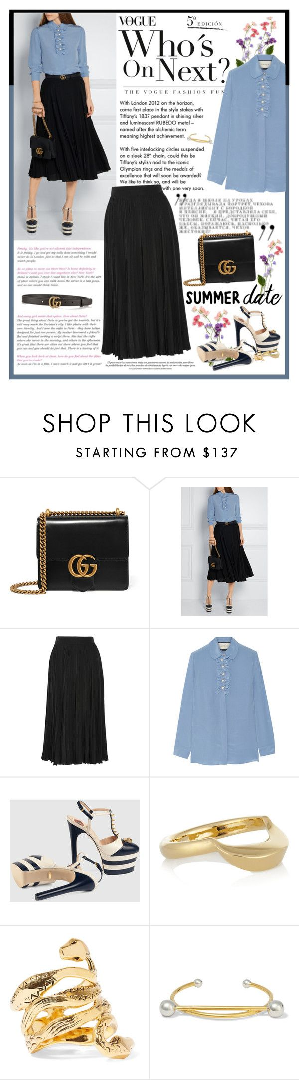 """""""Try This Summer Date Style with Gucci from Net-A-Porter"""" by perth-fashion-stylist ❤ liked on Polyvore featuring Tiffany & Co., Gucci, Chloé, Aurélie Bidermann and Maria Black"""