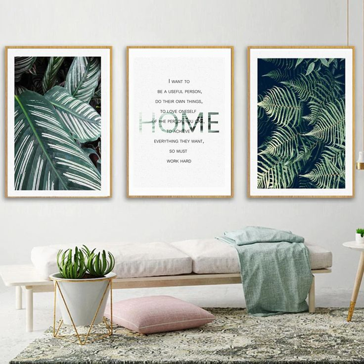 Nordic green leaves tropical botany wall art inspirational