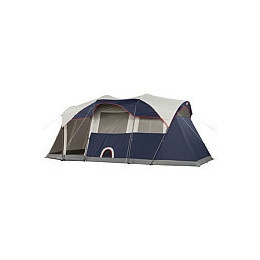 Coleman Elite WeatherMaster -  6 Person Cabin Tent With Light System & Screenroom. Includes many luxury features not found in other tents, including a hinged door, hooded windows, remote control fluorescent lighting system & self rolling windows.