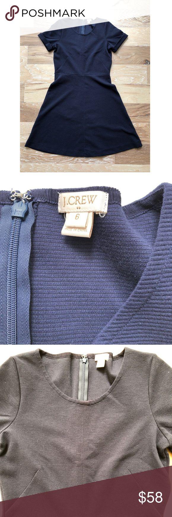 "J. Crew Navy Blue A-Line Dress J. Crew Navy Blue A-Line Dress in size 6. Approximate measurements: Pit to pit 17.5"", length 36"". Folded sleeve detail. EUC J. Crew Dresses Midi"