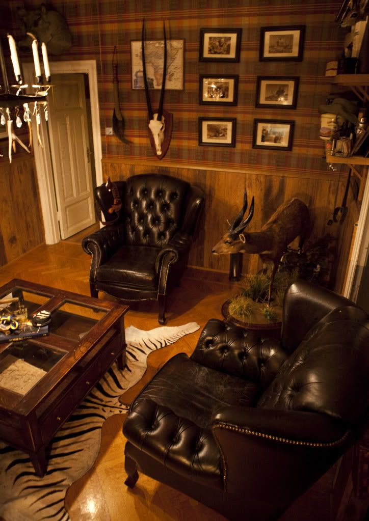 Man cave style. Wood wainscoting, with tartan wallpaper. South African safari style.