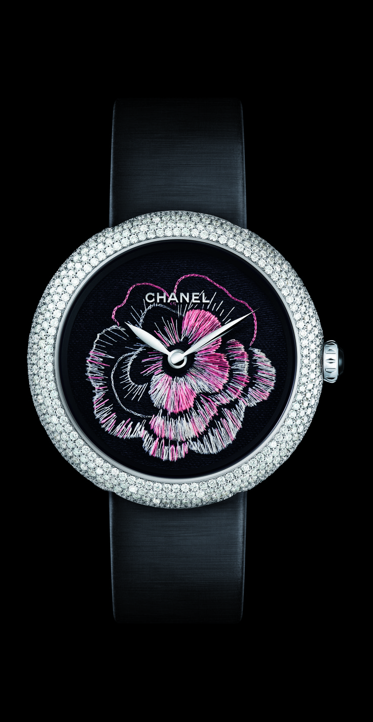 Mademoiselle Privé watch from Chanel, which boasts the award for Best Artistic Craft Watch at the 13th Grand Prix d'Horlogerie de Genève for the Camélia Brodé dial