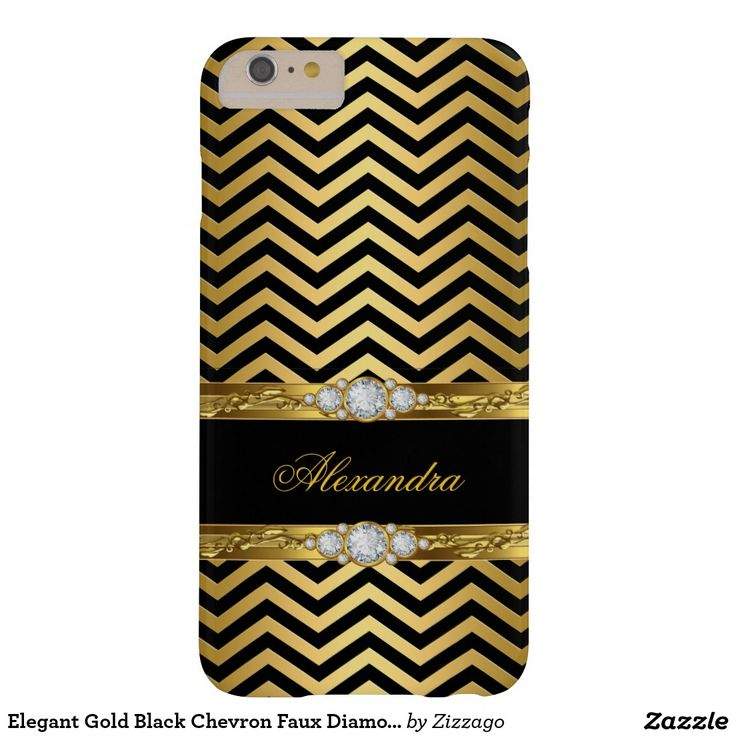 Elegant Gold Black Chevron Faux Diamond Gem Barely There iPhone 6 Plus Case