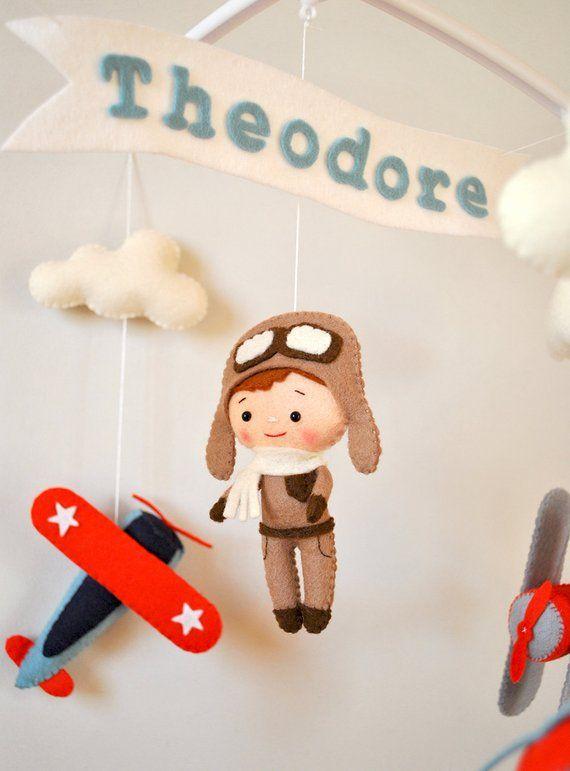 Airplane Baby Mobile With Pilot Nursery Mobile Crib Cot Etsy Moviles Para Niños Regalos Para Bebé Varón Móviles Para Bebés