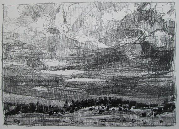 Overcast Lost Dog Hill Original Landscape Pencil by Paintbox