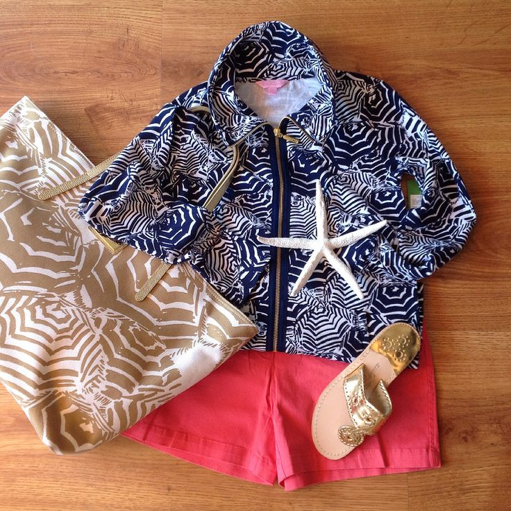 Lilly Pulitzer Leona zip up (navy)- $128                     Southern Tide shorts(sun kist coral)-$55 Lilly Pulitzer tote -$138                        Jack Rogers sandal (gold)- $110                           Available on our website  #LillyPuliter #JackRogers #SouthernTide #Starfish