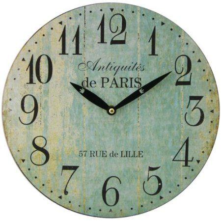 paris 28cm distressed round wall clock duck egg blue