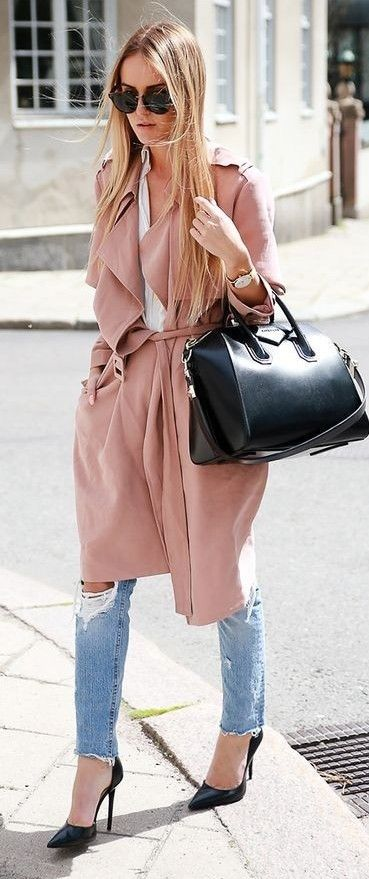 Dusty Pink Trench Outfit Idea | By Kiki                                                                             Source