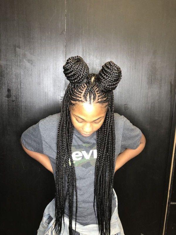 Half Up Half Down Two Buns Braided Braids For Black Hair Braided Hairstyles For Black Women Cornrows Hair Styles