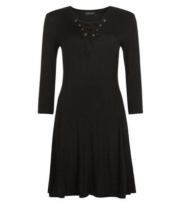 Black Eyelet Lace Up Swing Dress