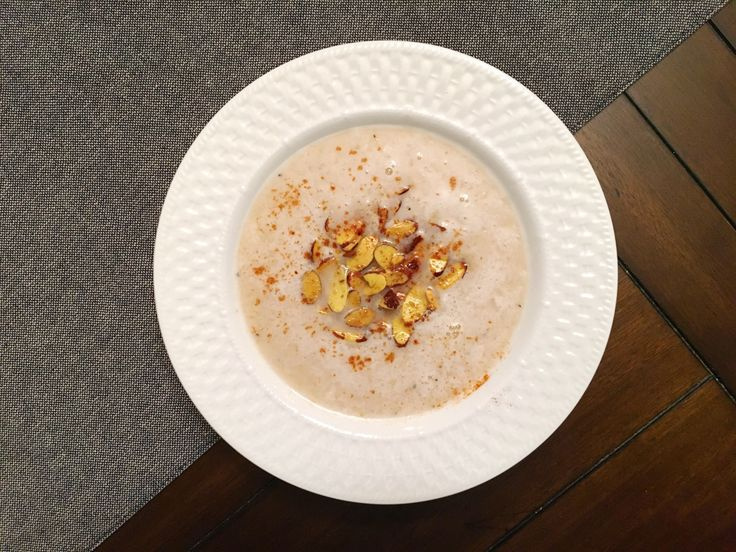 Puréed White Bean Soup with Turmeric Roasted Almonds