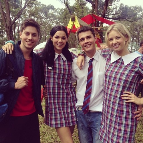 Lincoln Younes, Demi Harman, Andrew Morley and Kassandra Klementi, who play Casey Braxton, Sasha Bezmel, Spencer Harrington and Maddy Osbourne on the best show ever, Home and Away!