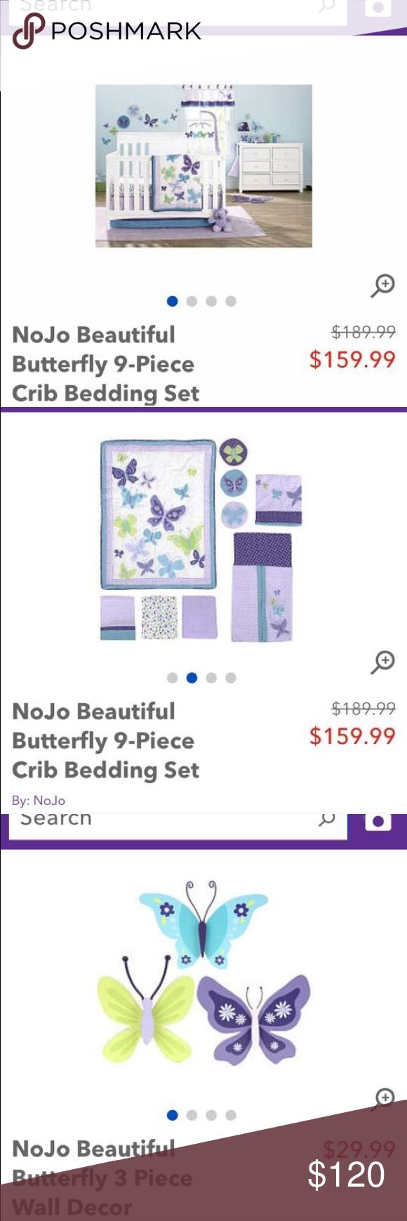 Bumper for crib for sale - Nojo Beautiful Butterfly Crib Bedding Set