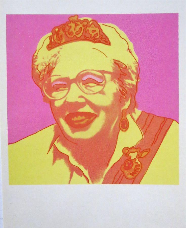 annie m.g. schmidt, 1995, josie arnoys/ andy warhol/marcel prins, letterkundig museum/kinderboeken museum, den haag, the netherlands, boomerang card,