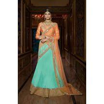 Sky Blue Color Silk Hand Craft Bridal Mirror Work Lehenga With Semi-stitched Designer Choli From Lagna Shringar Buy World Of Style    ₹Rs. 12,422