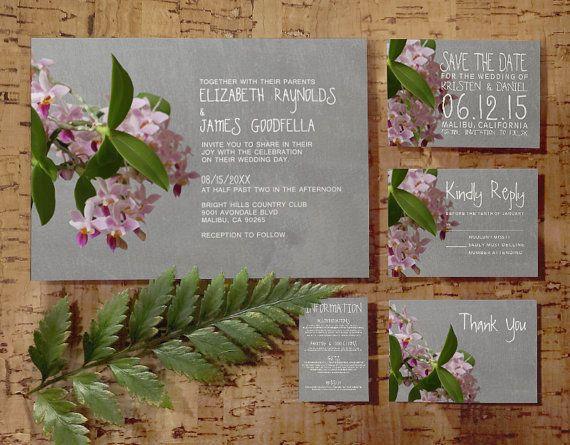 Phalaenopsis Orchid Wedding Invitation Set/Suite by InvitationSnob