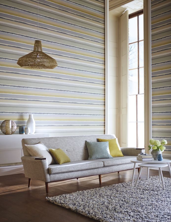 Muted pastel tones. Prairie wallpaper from Harlequin's Landscapes collection.