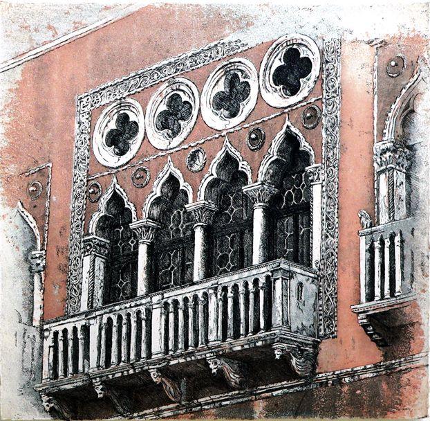 Balcony etching Artist Sandi Rigby