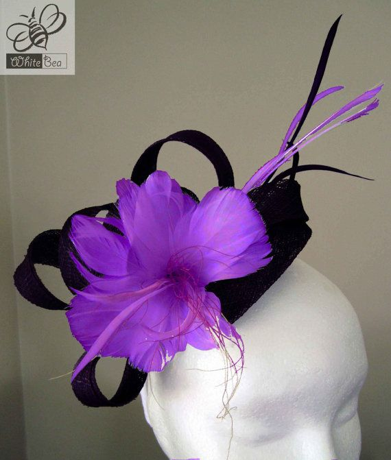 Fascinator with black sinamay and purple feather by WhiteBea