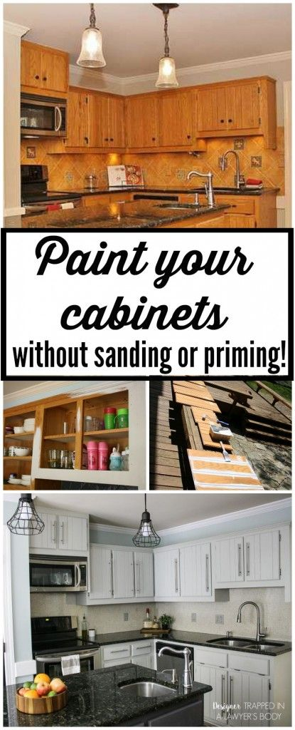 THIS IS AWESOME! Learn to paint your kitchen cabinets without sanding OR priming! Full tutorial by Designer Trapped in a Lawyer's Body.