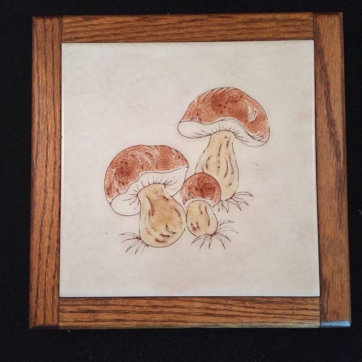 Trivet Ceramic Mushroom Decor Tile Wooden Frame Vintage 1970s  #Unbranded #VintageRetro