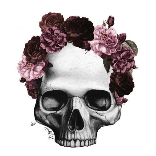 colorful, flowers, pink, roses, skull, skulls